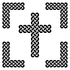 Simple Celtic style endless  knot  cross in black in knotted black frame  on white background  inspired by Irish St Patrick's Day, and Irish and Scottish carving art