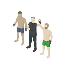 Referee announces victory of MMA fighter during Championship on mixed martial arts. Isometric view. Vector flat illustration.