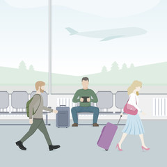 Passengers sitting and walking in airport terminal. Travel concept. Vector flat illustration.