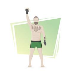 MMA Champion. Winner of the fights. Tattooed athlete. Vector flat illustration.