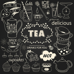 A collection of varieties of tea and drinks. Vector illustration with a chalk imitation