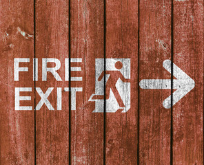 Wood Planks - Fire Exit Sign