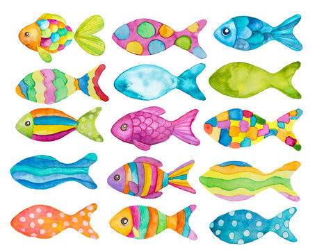 Watercolor painted fishes