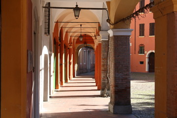 Modena, Italy, ancient arcades of the old town