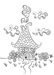 Fairy house, sketch graphics