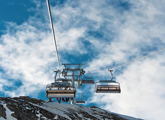 The chair lift of the Kaprun, Austria