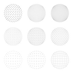 Set of Halftone circles isolated on white background.Collection of halftone effect dot patterns.Sphere illustration.Abstract business symbol.Circular vector logo for your design.Isolated black icon.