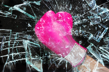 Pink Girl Power Breaking Glass..