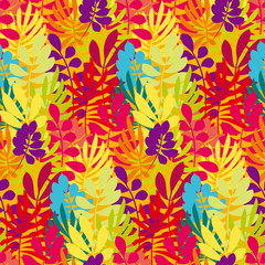 Concept tropical leaves vector illustration in bright vivid colors. Exotic simple fun surface design. Floral seamless pattern vector illustration. Rainbow color plant repeatable motif.
