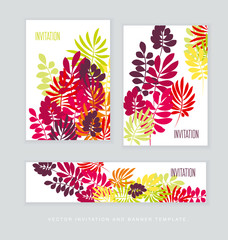 Concept tropical leaves vector illustration in bright vivid colors. Exotic simple fun surface design. Floral vector illustration. Rainbow color plant repeatable motif.
