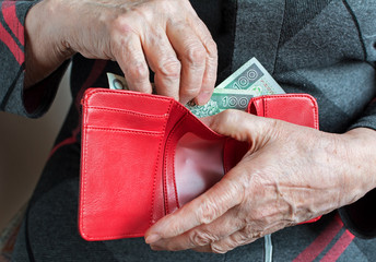 Hands of an elderly pensioner holding leather wallet with polish currency money. Concept of financial security in old age.