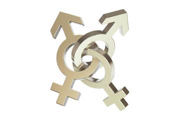 silver gender symbols, 3D rendering