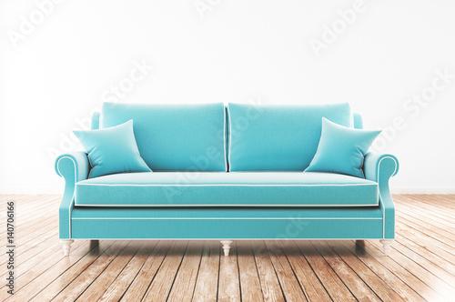 Divano azzurro vip in salotto con parquet stock photo for Divano azzurro