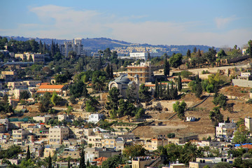 Panoramic view of St. Peter in Gallicantu, a Roman Catholic Church in the City of Jerusalem.