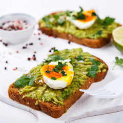 Avocado Vegetable. Sandwiches with Guacamole ,Egg and Parsley on a White Background.Appetizer.Food or Healthy diet concept.selective focus.