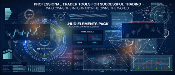 Set graphs and charts. Statistic and data, information infographic. HUD background outer space. infographic elements.