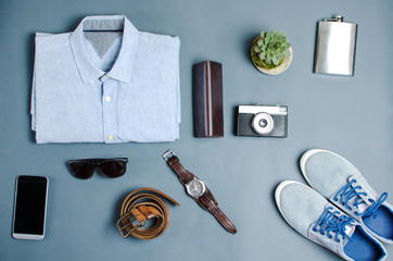 Male clothes and fashion accessories flatlay