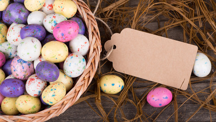 Colorful Easter Egg Candy in a Basket