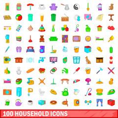 100 household icons set, cartoon style