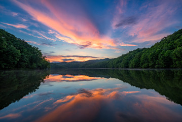 Scenic summer sunset over calm lake, Appalachian mountains