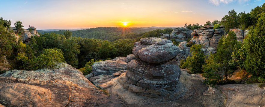 Rock formations and summer sunset, Garden of the God's, Southern Illinois