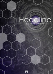 Metallic background. Magazine cover design template with futuristic future sci fi circle