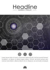 Book layout design template A4. Metallic background.