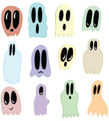 Cute Illustration Vector Ghosts