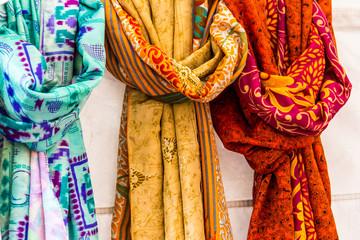 Light scarves at market