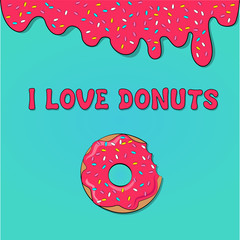 donut picture for T-shirt, print donut with pink frosting,
