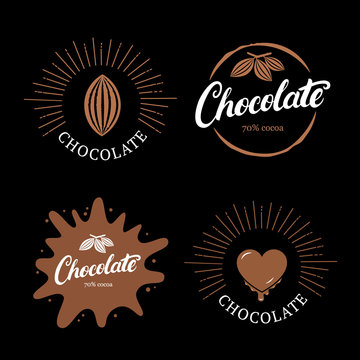 Set of chocolate hand written lettering logo, label, badge or emblem with cocoa bean.