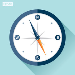 Compass icon in flat style on color background. Vector design element