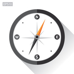 Compass icon in flat style on white background. Vector design element