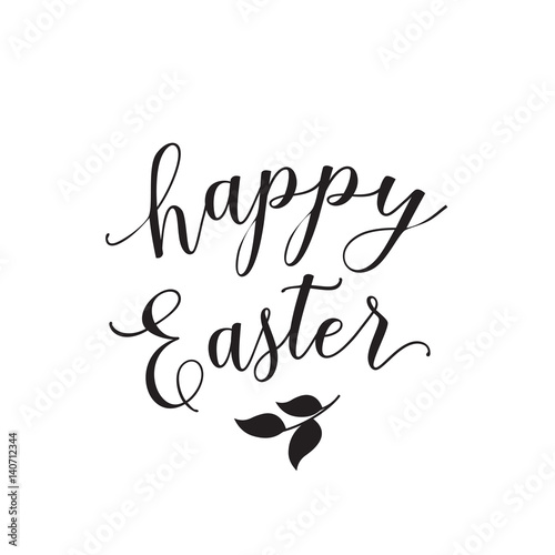 Quot happy easter lettering with leaves stock image and