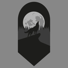 Wolf. Forest. Vector.