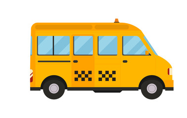 Yellow taxi bus vector illustration isolated car city travel cab transport traffic road street wheel service symbol icon passenger auto business sign