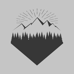 Mountain, forest. Isolated.