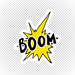 Comic book speech bubble, cartoon sound effect. Hand drawn pop art style sign vector illustration.