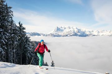 Woman on skis, Salzburg, Austria