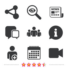 Group of people and share icons. Video camera.