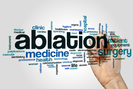 Ablation word cloud concept on grey background