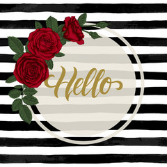 black and white watercolor striped background with Hand drawn lettering hello.