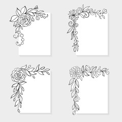 Set of black and white hand drawn corner floral borders.