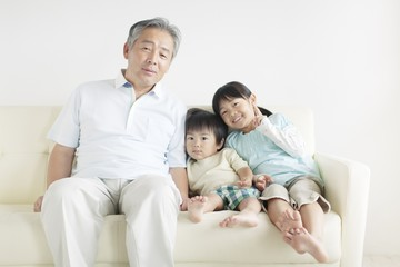 Grandfather with Grandson and Granddaughter