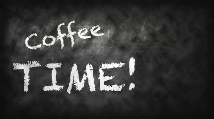 coffee time and coffee latte art on black board with texture in background , coffee concept , coffee idea, web banner or graphic design editor