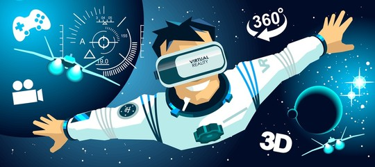 Man in a vr glasses in 3d virtual reality space icons