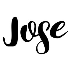 Male name - Jose. Lettering design. Handwritten typography. Vector