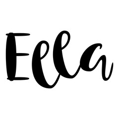 Female name - Ella.  Lettering design. Handwritten typography. Vector