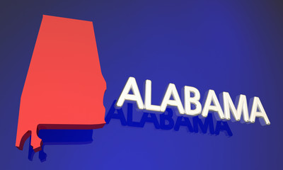 Alabama AL Red State Map Name 3d Illustration