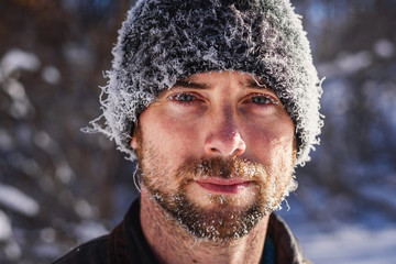 Portrait of man with frost covered face